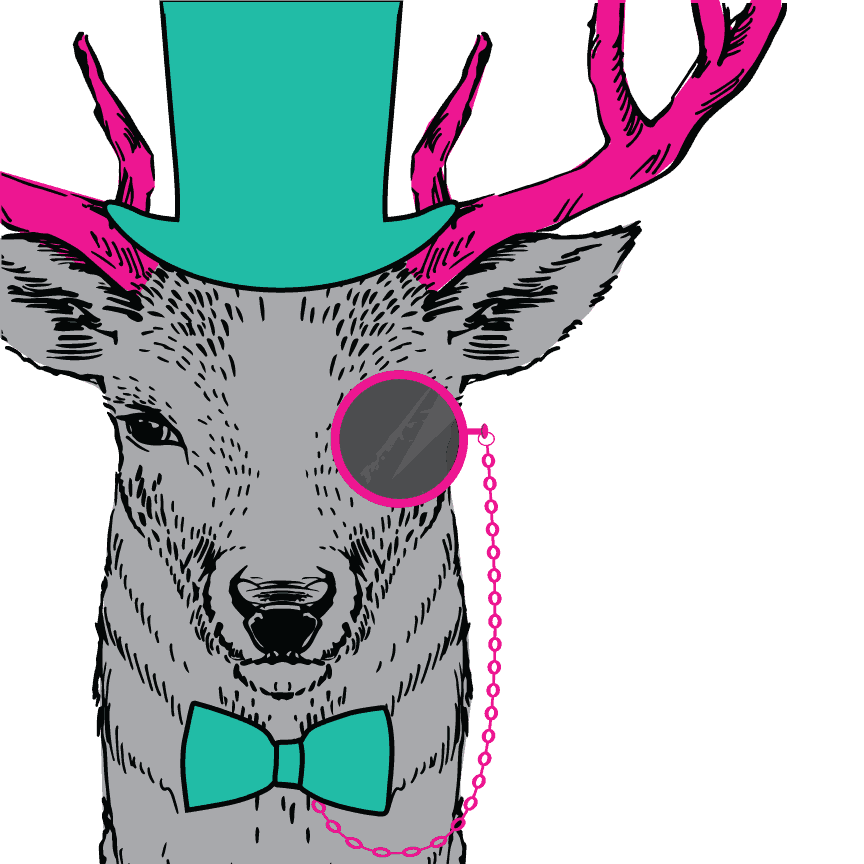 Hill Country Pediatric Dentistry and orthodontics Dental animated character gray color elk with hot pink colored antlers, wearing teal colored high hat and a bow tie and a hot pink color single spectacle on a hot pink chain connected to the bow tie is covering it's left eye