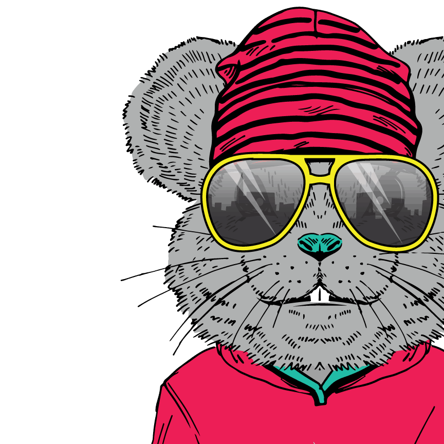 Hill Country Pediatric Dentistry and orthodontics Dental animated character mouse wearing hot pink colored sweatshirt, hot pink with black stripes hat and big bright yellow sunglasses