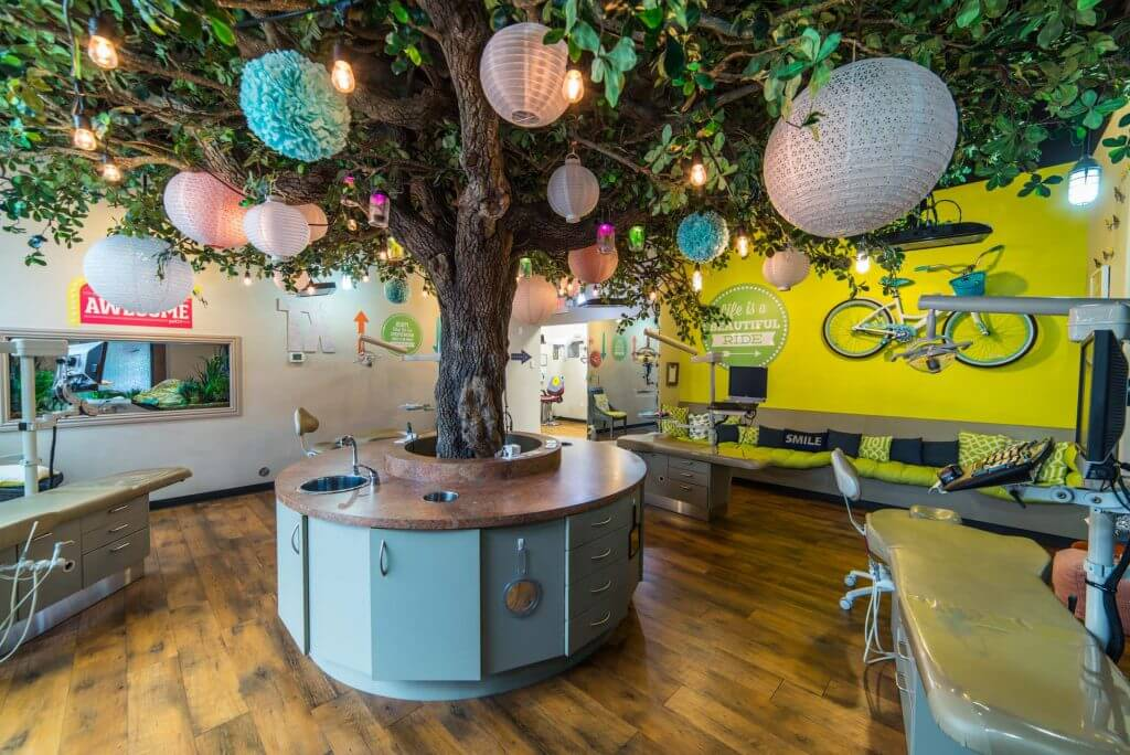 Hill Country Pediatric Dentistry and orthodontics Dental  office patient treatment area over view with the big tree in the center of the room cabinets around the tree trunk base, yellow wall with real pair of bicycle hanging from it