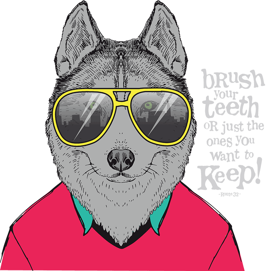 Hill Country Pediatric Dentistry and orthodontics Dental Office animated character gray dog wearing hot pink color sweater over a teal colored shirt collar showing, and a yellow frame big glasses with the saying: Brush your teeth or just the ones you want to keep